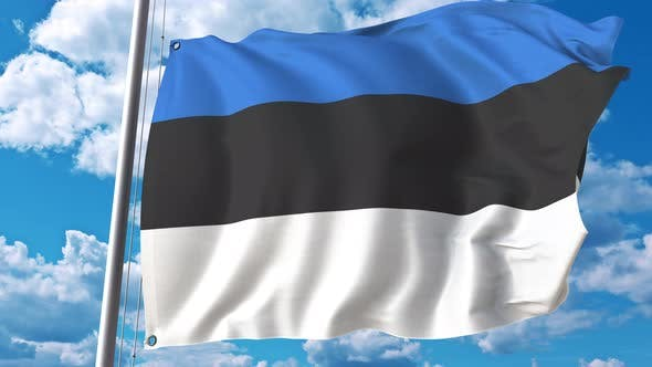 Thumbnail for Waving Flag of Estonia on Sky Background