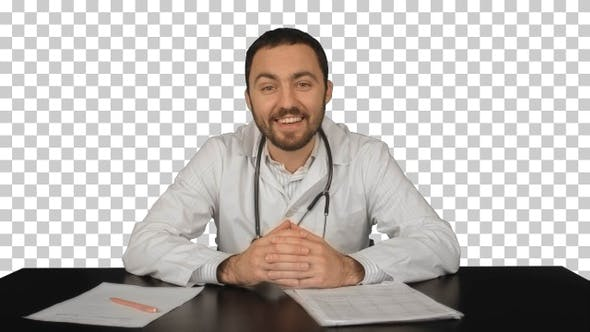 Cheerful smiling doctor with good news, Alpha Channel
