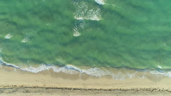 Thumbnail for Ocean and Sandy Beach in Sunny Morning. Aerial Vertical Top-Down View