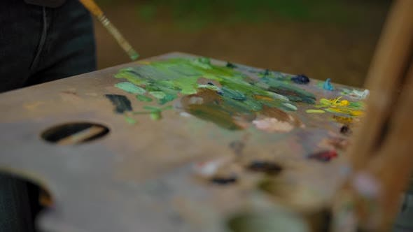 Thumbnail for The Palette of the Artist. A Girl Dips a Brush in the Paint on Her Palette