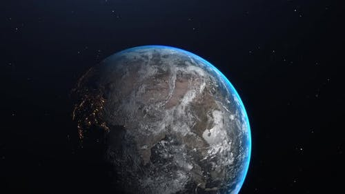 Planet Earth Slow Zoom Out With Lights And Stars