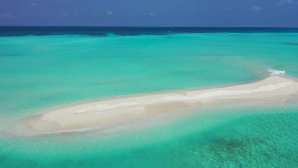 Thumbnail for Luxury aerial travel shot of a white sand paradise beach and aqua turquoise water background in colo
