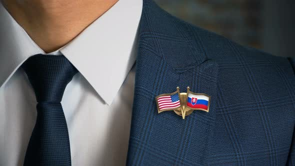 Thumbnail for Businessman Friend Flags Pin United States Of America Slovakia
