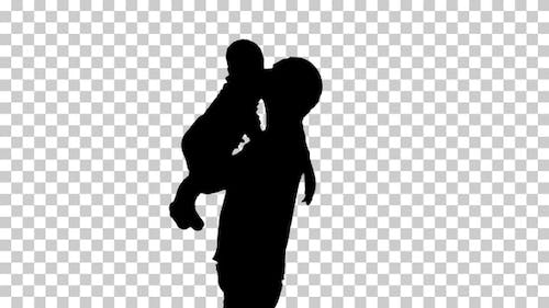 Silhouette mother with baby, Alpha Channel