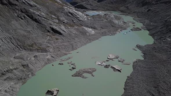 Aerial of Grossglockner Glacier Lake, Austria