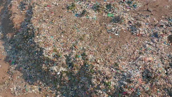 Aerial View. Garbage Pile in Trash Dump. Environmental Pollution From Consumerism Household