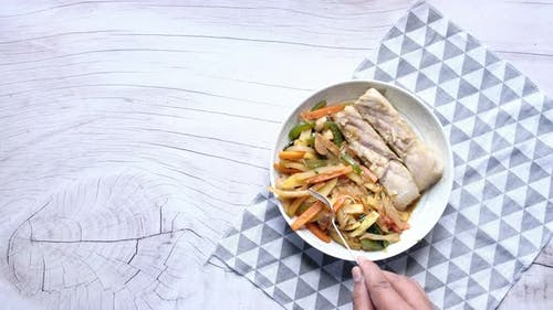 Grilled Fish Fillet with BBQ Vegetables.