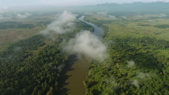 Thumbnail for Flyover Cloud Covered Jungle River