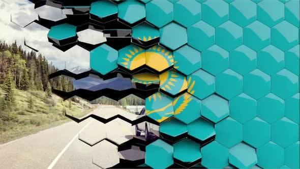 Kazakhstan Flag Hexagon Transition - 4K Resolution