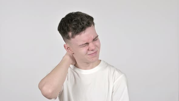 Thumbnail for Young Man with Neck Pain, White Background