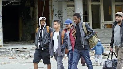 Arabic Refugees Walking