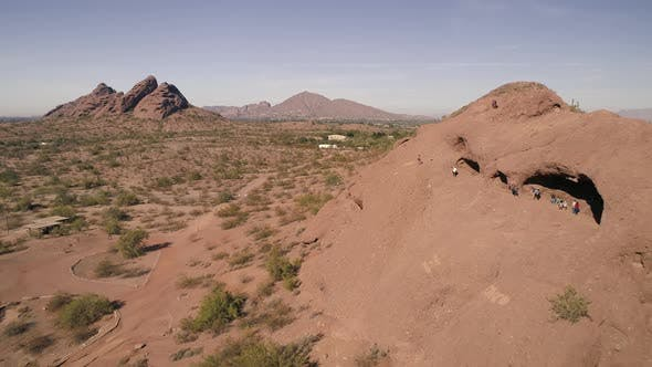Thumbnail for Aerial Flyback Of Phoenix Popular Tourist Hiking Adventure Destination