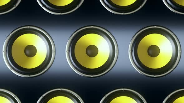 Thumbnail for Audio Speakers with Yellow Membranes Playing Rhytmic Music at 90 bpm Frequency