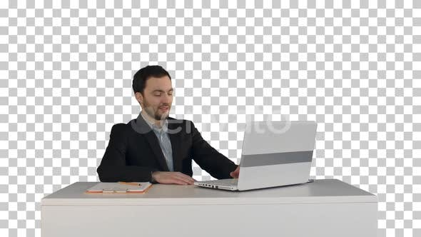 Smiling Businessman in the office on video, Alpha Channel