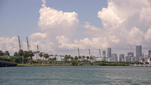 Views Of Port Miami 4k Motion Footage