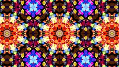 Colorful Stained Glass Kaleidoscope Loop 4K 09