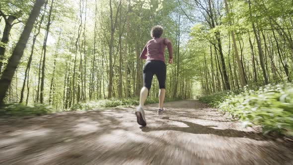 Woman Jogging By the Forest Trail and Trees Surrounding It