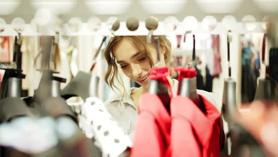 Woman Searching Dress Closeup
