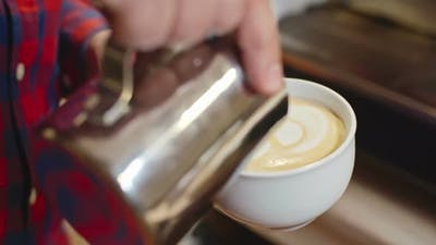 Barista Performing Latte Art