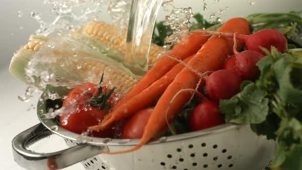Thumbnail for Water splashing onto fresh vegetables, slow motion