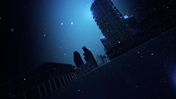 Dark Snowy Digital City 4k