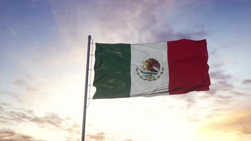 Mexico Flag Waving in the Wind Dramatic Sky Background