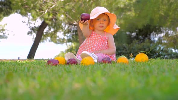 Thumbnail for Kindergarten Background. Healthy and Cheerful Child Playing Outdoor. Beautiful Girl Playing with