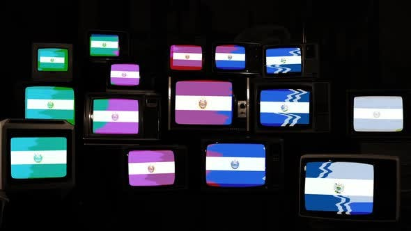 Thumbnail for Flag of El Salvador on a Retro TV Wall.