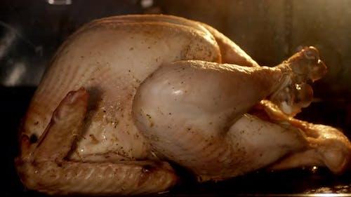 Timelapse Duftende Türkei wird im Ofen gebacken bis golden