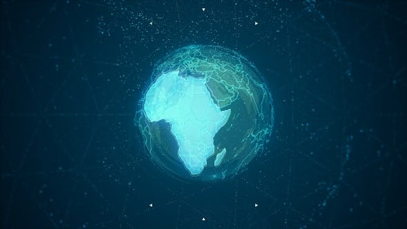 Thumbnail for Africa Continent on the Rotating Blue Earth 4K