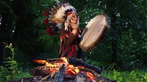 Spiritual Ceremony With Shaman Woman
