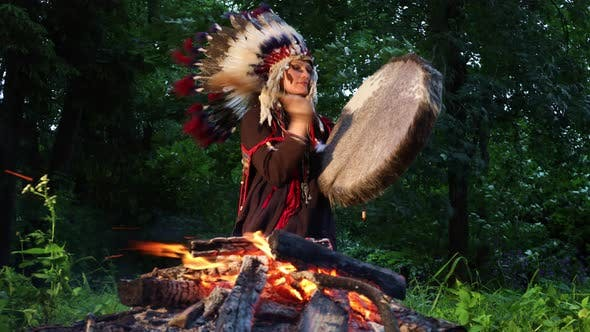 Spiritual Ceremony With Shaman Woman