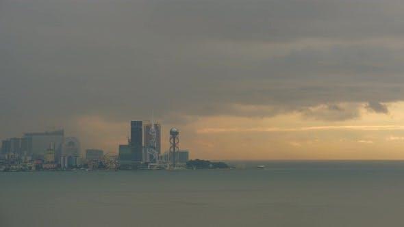 Thumbnail for Amazing timelapse of Batumi city skyline. day to night time lapse of Batum