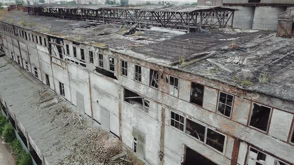 Abandoned Ruined Industrial Factory Building