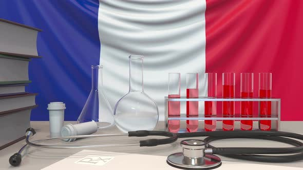 Clinic Laboratory Equipment on French Flag Background