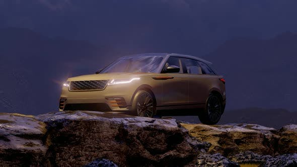 Thumbnail for White Luxury Off-Road Vehicle Standing in Foggy Mountainous Area in the Evening