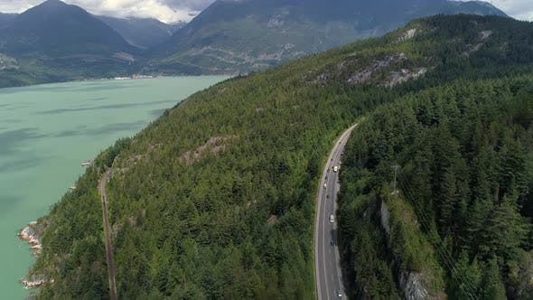 Thumbnail for Aerial Of Sunny Day On Sea To Sky Highway By Squamish British Columbia