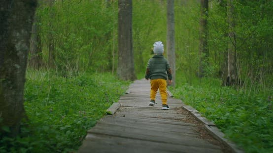 Thumbnail for A Boy Runs in a Park on a Wooden Path in Slow Motion