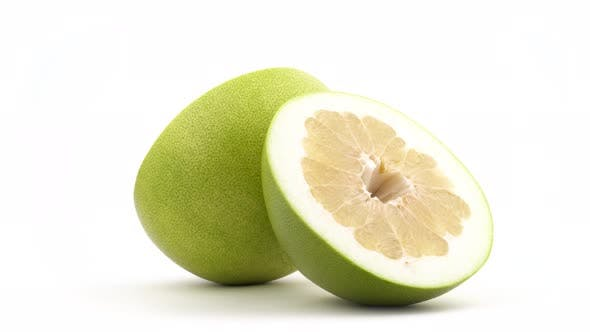 Thumbnail for Two Halves of Big Shaddock Pomelo Fruit. Rotating on the Turntable. Isolated on the White Background