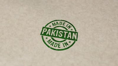 Made in Pakistan stamp and stamping