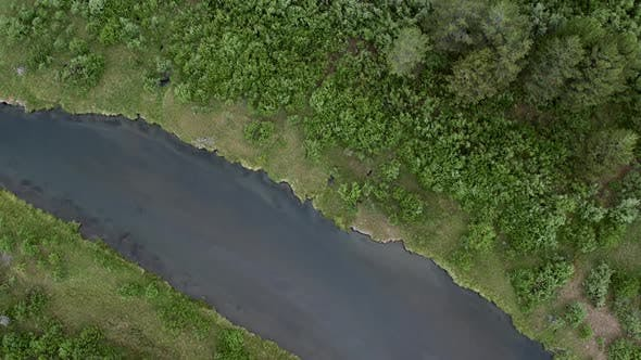 Thumbnail for Slowly flying over rivers looking down