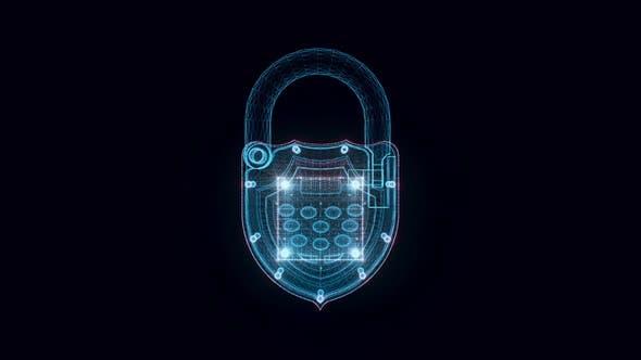 Elektronisch Vorhängeschloss Hologramm rotierend 4k