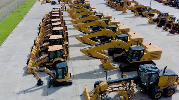 Thumbnail for Heavy Construction Equipment Store, Excavator, Bulldozer, Grader, Front Loader, Aerial View