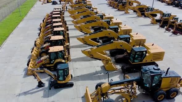 Heavy Construction Equipment Store, Excavator, Bulldozer, Grader, Front Loader, Aerial View