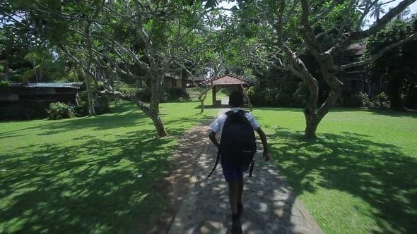 South Asian Indian School Boy Running