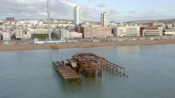 Brighton West Pier Remains in the UK Aerial View