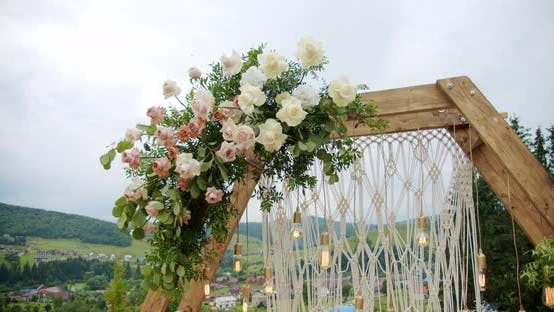 Wedding Arch Decor on the Wedding Day on Nature Mountain. Close Up
