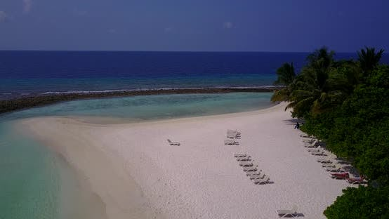 Thumbnail for Wide angle flying island view of a sunshine white sandy paradise beach and blue ocean background