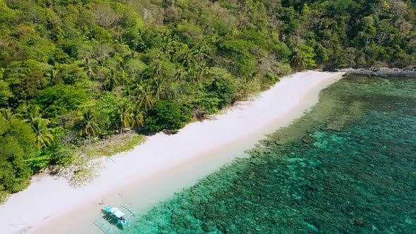 Thumbnail for Remote White Sand Beach on Helicopter Island, Philippines. Aerial Drone View of Exotic Island