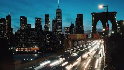 Cars On The Brooklyn Bridge. New York